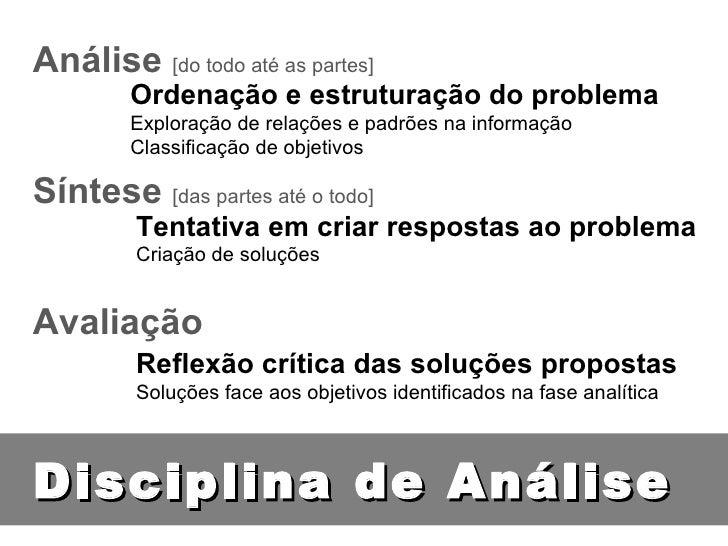 Disciplina de Análise Análise   [do todo até as partes] Síntese   [das partes até o todo] Avaliação Ordenação e estruturaç...