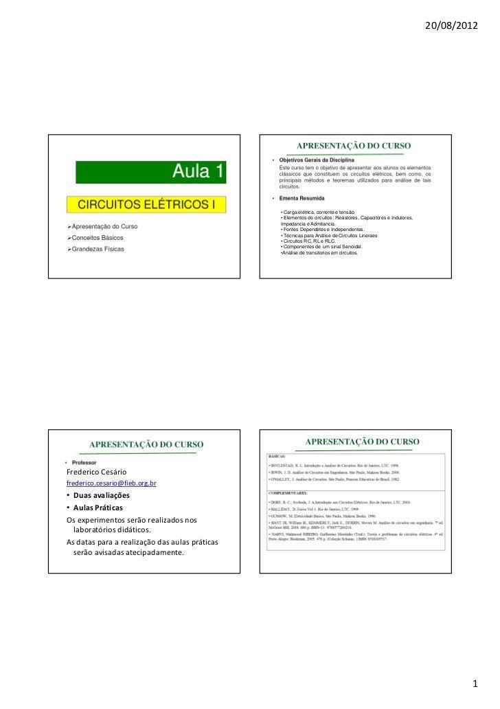 20/08/2012                                                • Carga elétrica, corrente e tensão.                            ...