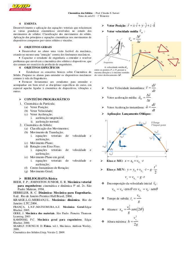 Cinemática dos Sólidos – Prof. Cláudio S. Sartori  Notas de aula 01 – 1° Bimestre  1  EMENTA  Desenvolvimento e aplicação ...