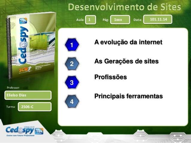 Aula: Pág: Data:  Professor:  Turma:  1 1xxx 101.11.14  Elielso Dias  2506-C  A evolução da internet  As Gerações de sites...