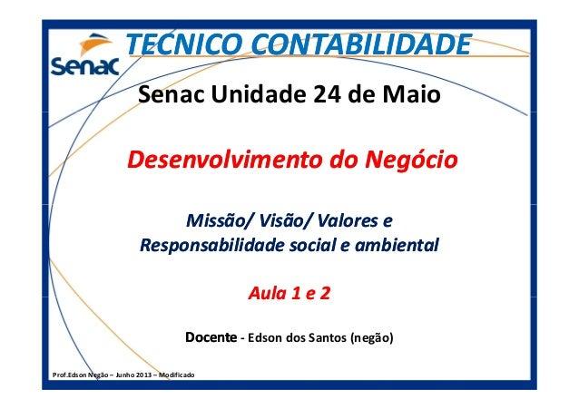 Senac Unidade 24 de Maio Desenvolvimento do NegócioDesenvolvimento do Negócio TECNICO CONTABILIDADETECNICO CONTABILIDADE P...