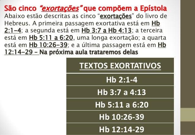 """TEXTOS EXORTATIVOS Hb 2:1-4 Hb 3:7 a 4:13 Hb 5:11 a 6:20 Hb 10:26-39 Hb 12:14-29 São cinco """"exortações"""" que compõem a Epís..."""