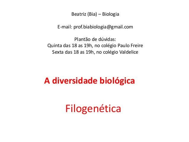 Beatriz (Bia) – BiologiaE-mail: prof.biabiologia@gmail.comPlantão de dúvidas:Quinta das 18 as 19h, no colégio Paulo Freire...