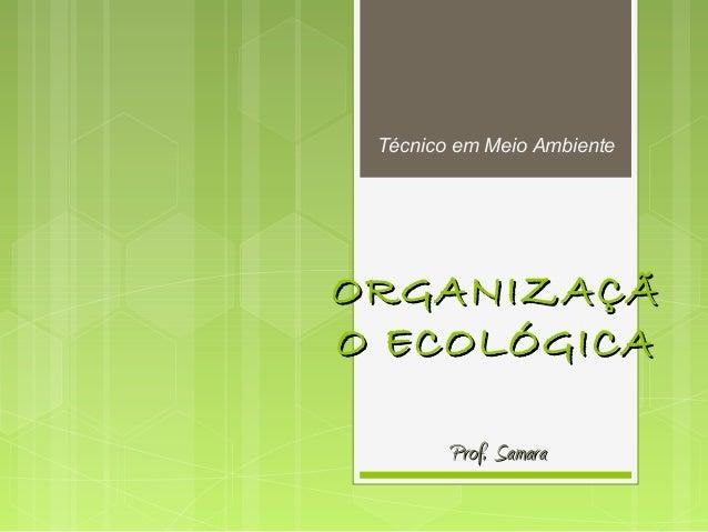 ORGANIZAÇÃORGANIZAÇÃ O ECOLÓGICAO ECOLÓGICA Prof. SamaraProf. Samara Técnico em Meio Ambiente