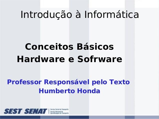 Introdução à Informática Conceitos Básicos Hardware e Sofrware Professor Responsável pelo Texto Humberto Honda
