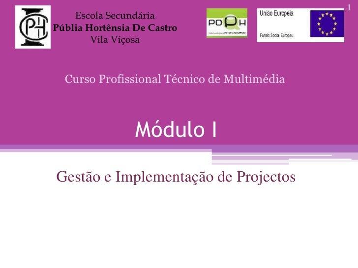 Escola Secundária<br />Públia Hortênsia De Castro<br />Vila Viçosa<br />Curso Profissional Técnico de Multimédia<br />Módu...