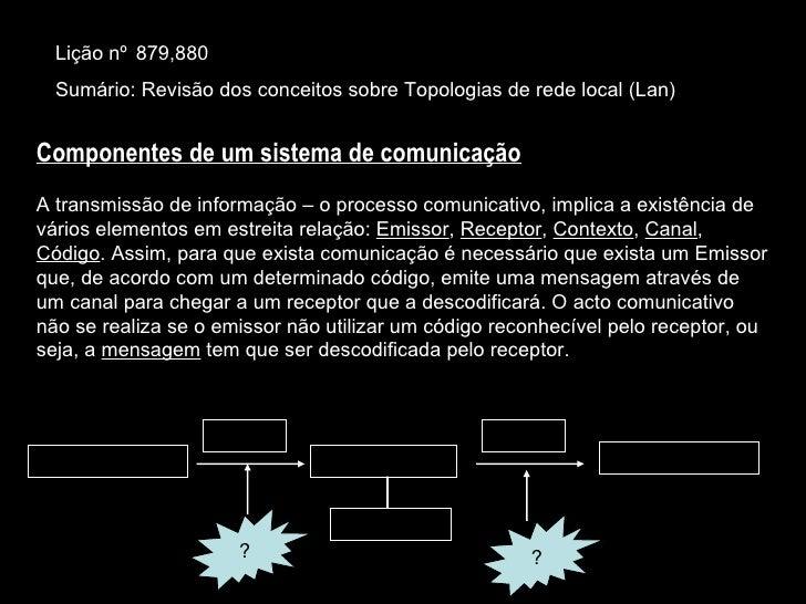 Lição nº  879,880 Sumário: Revisão dos conceitos sobre Topologias de rede local (Lan) Componentes de um sistema de comunic...