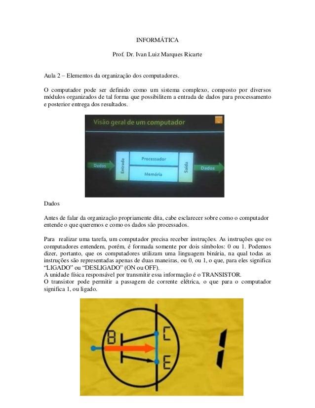 INFORMÁTICA Prof. Dr. Ivan Luiz Marques Ricarte Aula 2 – Elementos da organização dos computadores. O computador pode ser ...