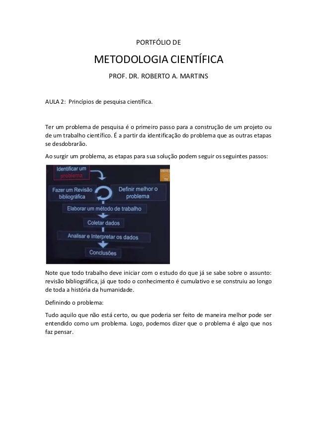 PORTFÓLIO DE  METODOLOGIA CIENTÍFICA  PROF. DR. ROBERTO A. MARTINS  AULA 2: Princípios de pesquisa científica.  Ter um pro...