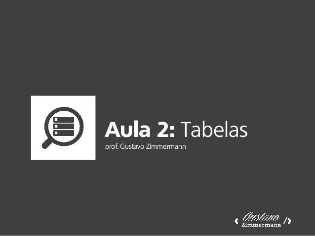 Aula 2: Tabelas prof. Gustavo Zimmermann