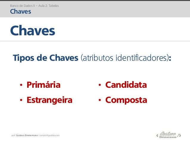 prof. Gustavo Zimmermann | contato@gust4vo.com Chaves Banco de Dados II – Aula 2: Tabelas Chaves Tipos de Chaves (atributo...