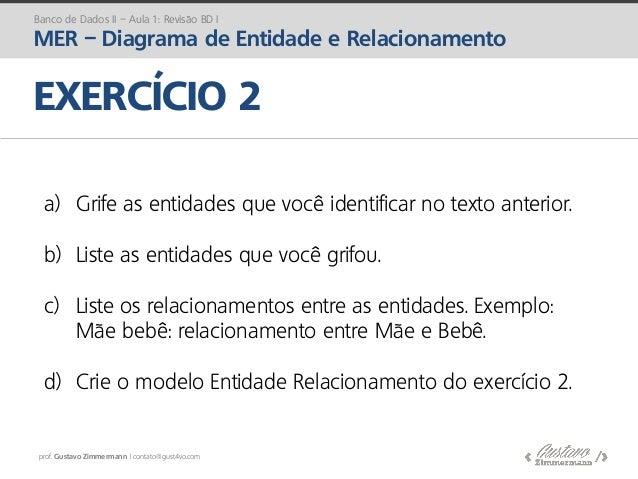prof. Gustavo Zimmermann | contato@gust4vo.com Banco de Dados II – Aula 1: Revisão BD I MER – Diagrama de Entidade e Relac...