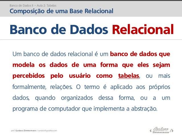 prof. Gustavo Zimmermann | contato@gust4vo.com Banco de Dados II – Aula 2: Tabelas Composição de uma Base Relacional Um ba...