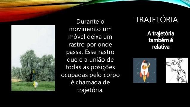 TIPOS DE TRAJETÓRIA Trajetória retilínea Trajetória curvilínea Circular Parabólica Hiperbólica Elíptica