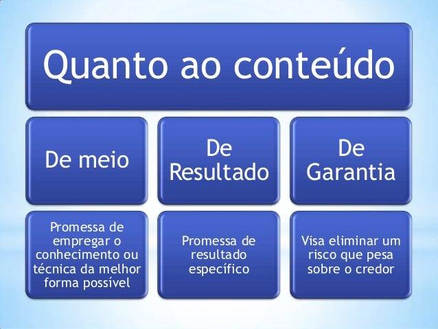 Quanto ao conteúdo De meio  De Resultado  De Garantia  Promessa de empregar o conhecimento ou técnica da melhor forma poss...
