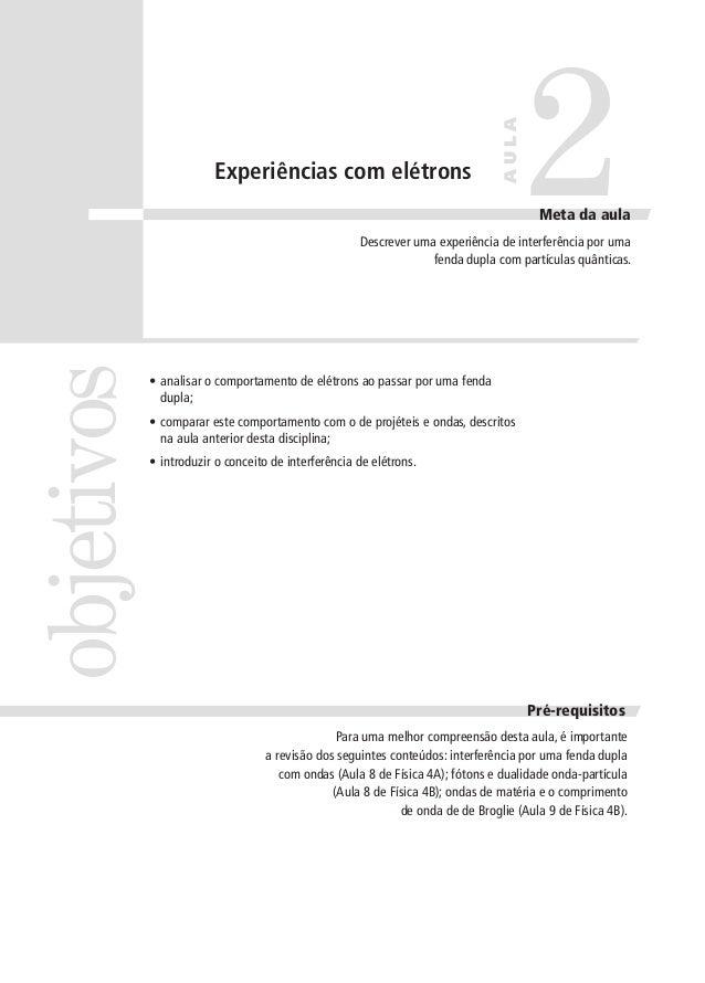 AULA  Experiências com elétrons  2  Meta da aula  objetivos  Descrever uma experiência de interferência por uma fenda dupl...