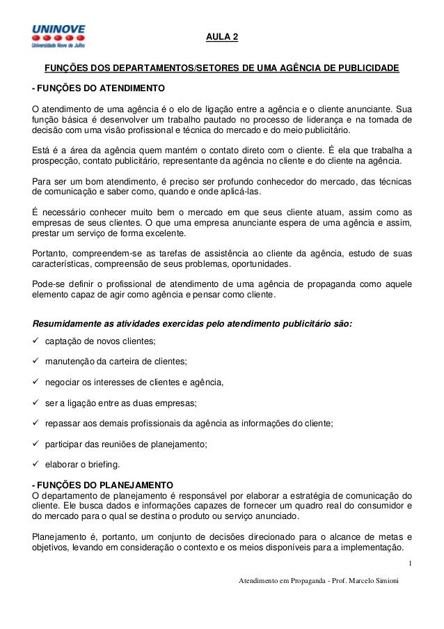 Atendimento em Propaganda - Prof. Marcelo Simioni 1 AULA 2 FUNÇÕES DOS DEPARTAMENTOS/SETORES DE UMA AGÊNCIA DE PUBLICIDADE...