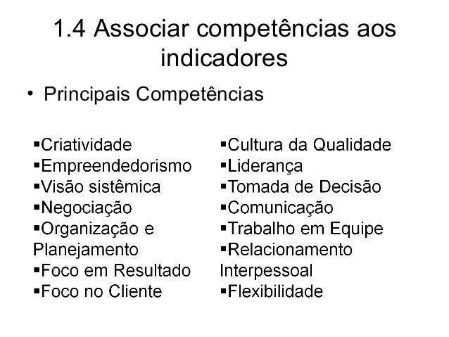 1.4 Associar competências aos indicadores • Principais Competências