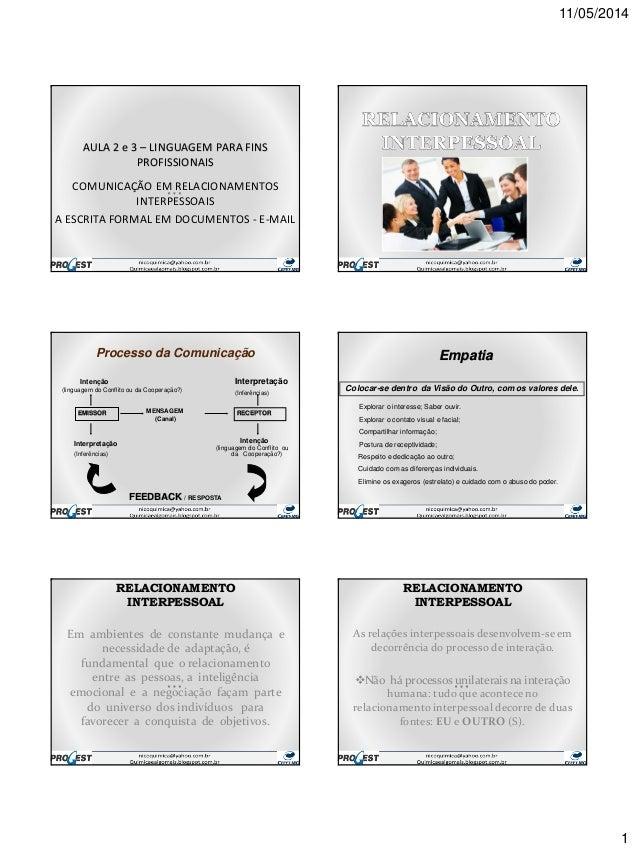 11/05/2014 1 AULA 2 e 3 – LINGUAGEM PARA FINS PROFISSIONAIS COMUNICAÇÃO EM RELACIONAMENTOS INTERPESSOAIS A ESCRITA FORMAL ...
