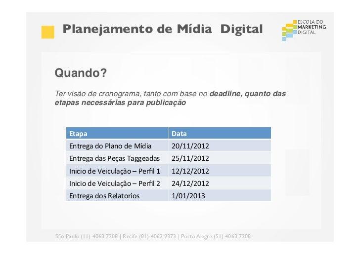 Planejamento de Mídia DigitalQuando?!Ter visão de cronograma, tanto com base no deadline, quanto dasetapas necessárias p...