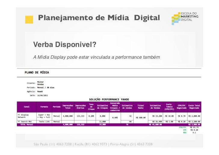 Planejamento de Mídia DigitalVerba Disponivel?!A Mídia Display pode estar vinculada a performance também!!!São Paulo (1...