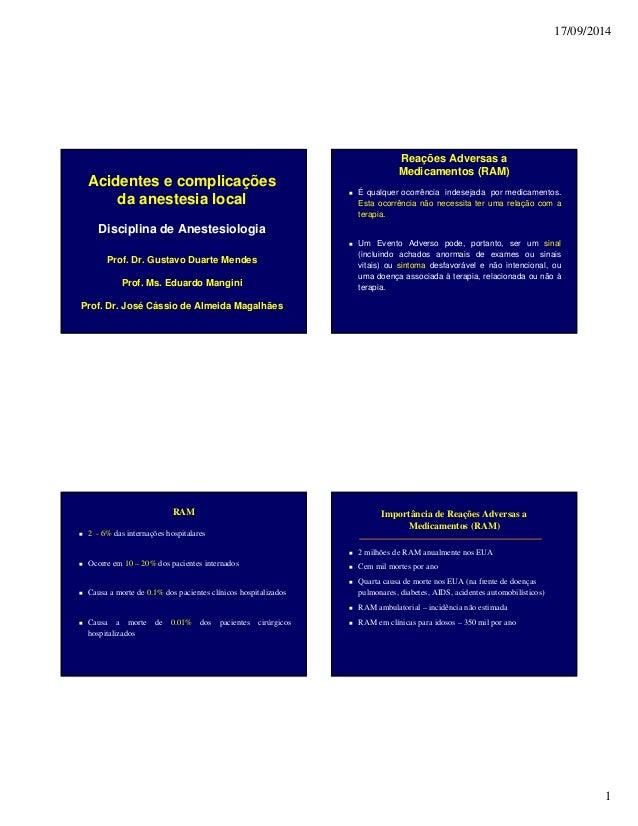 17/09/2014 1 Acidentes e complicações da anestesia local Disciplina de Anestesiologia Prof. Dr. Gustavo Duarte Mendes Prof...