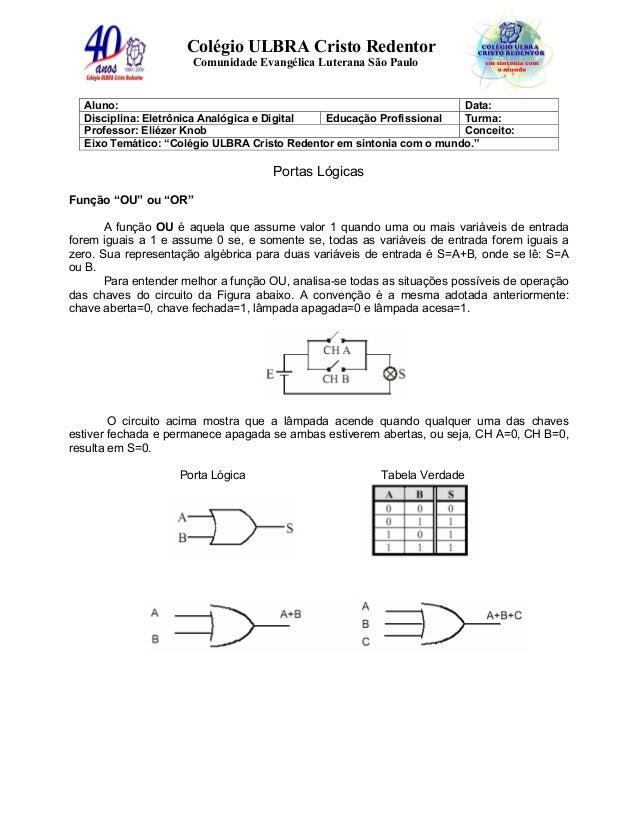 Colégio ULBRA Cristo Redentor Comunidade Evangélica Luterana São Paulo Aluno: Data: Disciplina: Eletrônica Analógica e Dig...