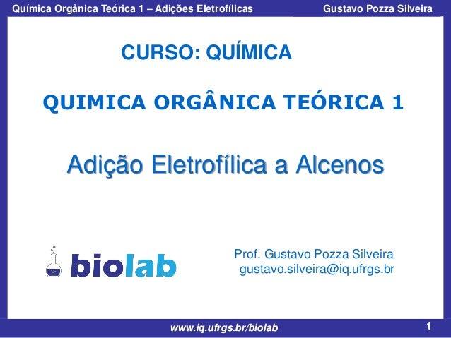 Química Orgânica Teórica 1 – Adições Eletrofílicas  Prof. Gustavo Pozza Silveira  CURSO: QUÍMICA QUIMICA ORGÂNICA TEÓRICA ...
