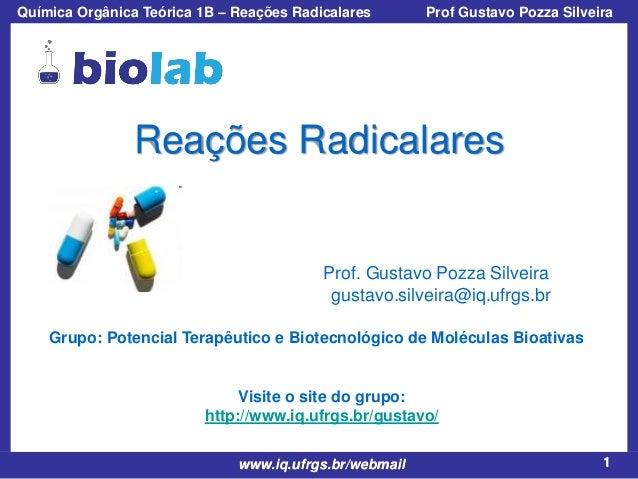 Química Orgânica Teórica 1B – Reações Radicalares  Prof Gustavo Pozza Silveira  Reações Radicalares  Prof. Gustavo Pozza S...
