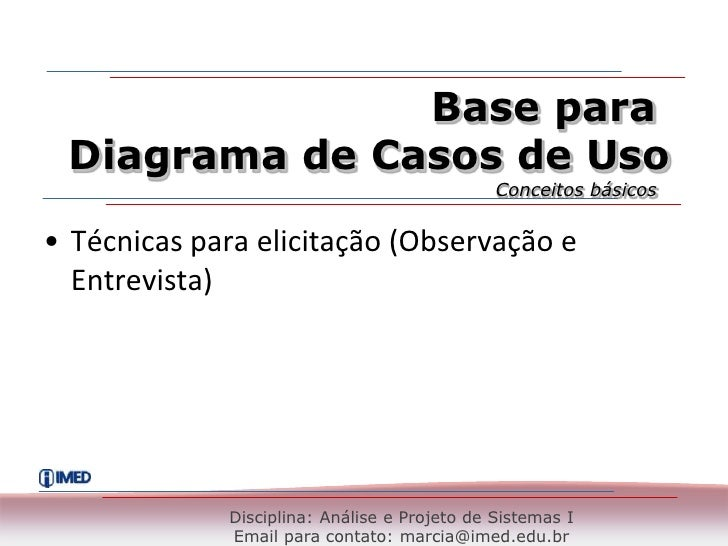 Base para <br />Diagrama de Casos de Uso<br />Conceitos básicos<br />Técnicas para elicitação (Observação e  Entrevista)<b...