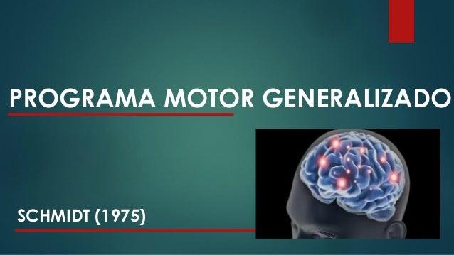PROGRAMA MOTOR GENERALIZADO SCHMIDT (1975) * Responsável pelo controle de uma classe de ações. * CLASSE DE AÇÕES – conjunt...