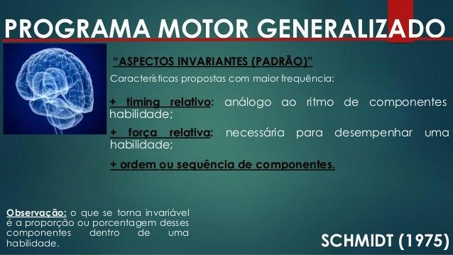 "PROGRAMA MOTOR GENERALIZADO SCHMIDT (1975) ""PARÂMETROS (ASPECTOS VARIANTES)"" Características que podem ser alteradas: + te..."