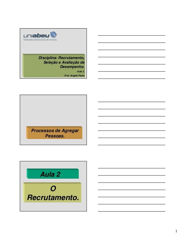 Disciplina: Recrutamento,       Seleção e Avaliação de                 Desempenho.                             Aula 2.    ...