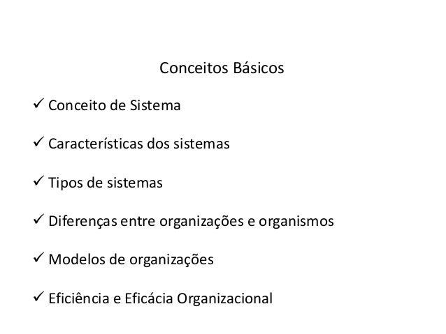 Conceitos Básicos Conceito de Sistema Características dos sistemas Tipos de sistemas Diferenças entre organizações e o...