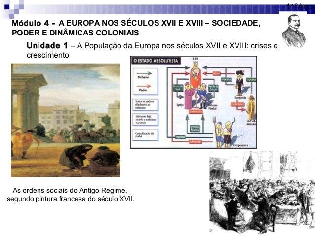 Módulo 4 - A EUROPA NOS SÉCULOS XVII E XVIII – SOCIEDADE, PODER E DINÂMICAS COLONIAIS 11ºAno Unidade 1 – A População da Eu...