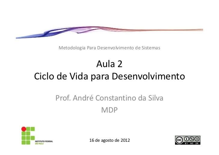 Metodologia Para Desenvolvimento de Sistemas               Aula 2Ciclo de Vida para Desenvolvimento    Prof. André Constan...