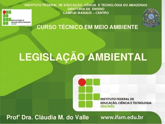 INSTITUTO FEDERAL DE EDUCAÇÃO, CÊNCIA E TECNOLÓGIA DO AMAZONAS DIRETORIA DE ENSINO CAMPUS MANAUS – CENTRO  CURSO TÉCNICO E...