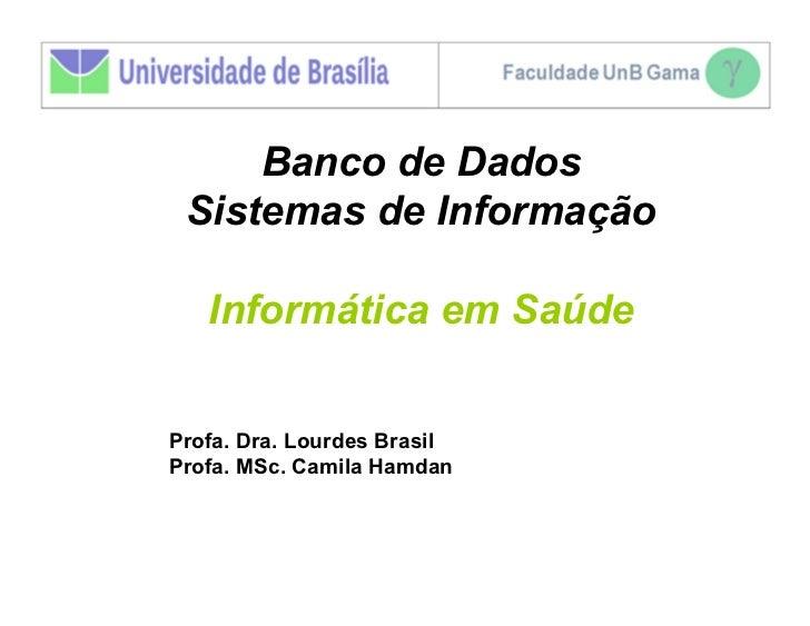 Banco de Dados Sistemas de Informação   Informática em SaúdeProfa. Dra. Lourdes BrasilProfa. MSc. Camila Hamdan