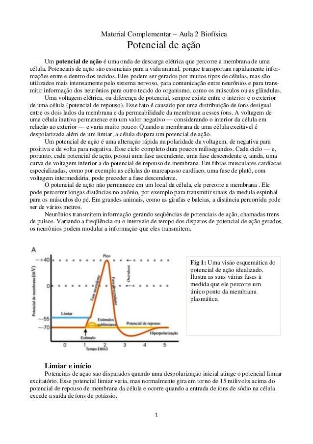 1 Material Complementar – Aula 2 Biofísica Potencial de ação Um potencial de ação é uma onda de descarga elétrica que perc...