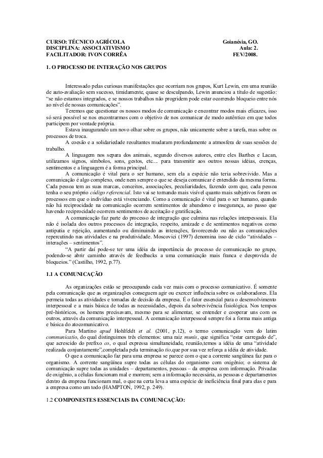 CURSO: TÉCNICO AGRÍCOLA Goianésia, GO.  DISCIPLINA: ASSOCIATIVISMO Aula: 2.  FACILITADOR: IVON CORRÊA FEV/2008.  1. O PROC...