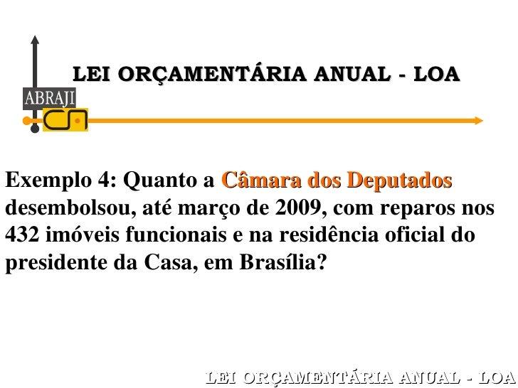 Exemplo 4: Quanto a  Câmara dos Deputados  desembolsou, até março de 2009, com reparos nos 432 imóveis funcionais e na res...
