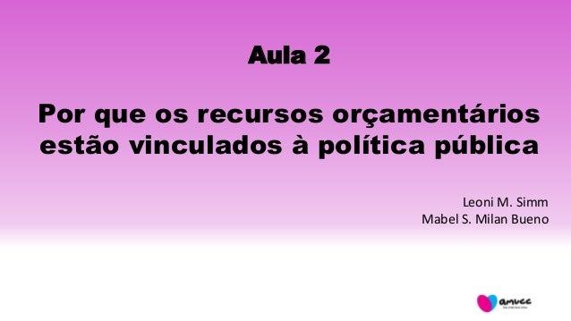 Aula 2 Por que os recursos orçamentários estão vinculados à política pública Leoni M. Simm Mabel S. Milan Bueno