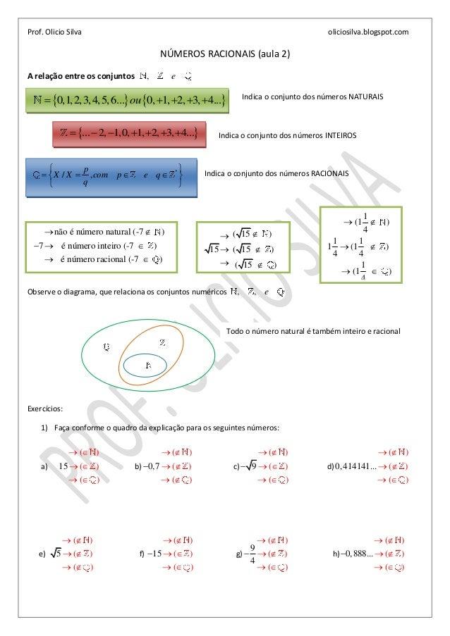 Prof. Olicio Silva oliciosilva.blogspot.comNÚMEROS RACIONAIS (aula 2)A relação entre os conjuntos , eIndica o conjunto dos...