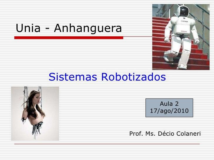 Unia - Anhanguera Sistemas Robotizados Prof. Ms. Décio Colaneri Aula 2 17/ago/2010