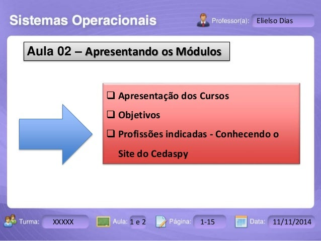 Turma: 2503-B Aula: 10 Pág: 10 a 17 Data: 18-jan-12  XXXXX 1 e 2 1-15 11/11/2014  Instrutor: Ricardo Paladini Matos  Eliel...