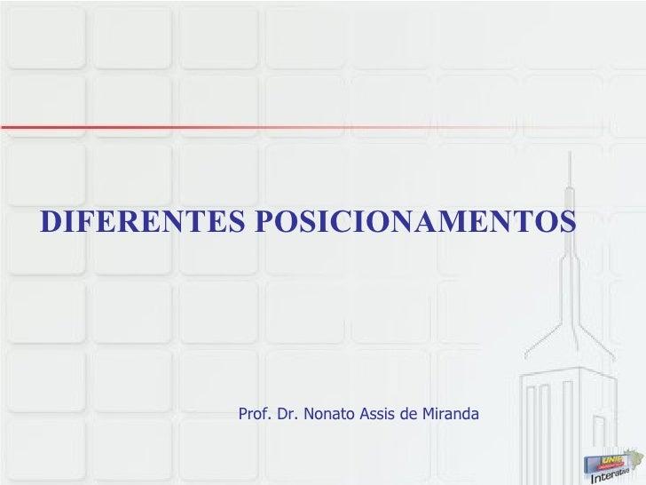 DIFERENTES POSICIONAMENTOS Prof. Dr. Nonato Assis de Miranda