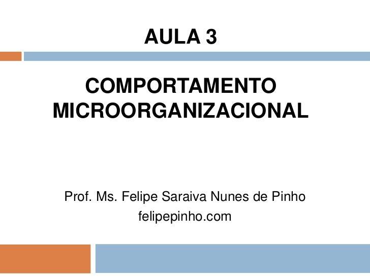 AULA 3   COMPORTAMENTOMICROORGANIZACIONALProf. Ms. Felipe Saraiva Nunes de Pinho            felipepinho.com
