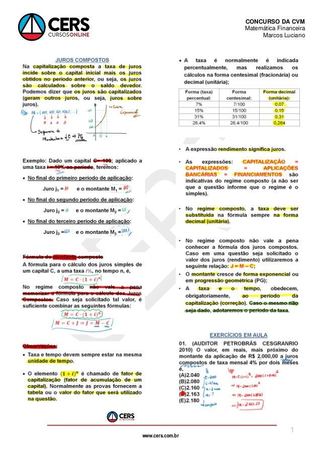 www.cers.com.br CONCURSO DA CVM Matemática Financeira Marcos Luciano 1