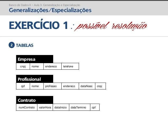 prof. Gustavo Zimmermann | contato@gust4vo.com EXERCÍCIO 1 : possível resolução Banco de Dados II – Aula 3: Generalização ...