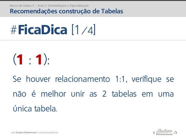 prof. Gustavo Zimmermann | contato@gust4vo.com #FicaDica [1/4] Banco de Dados II – Aula 3: Generalização e Especialização ...